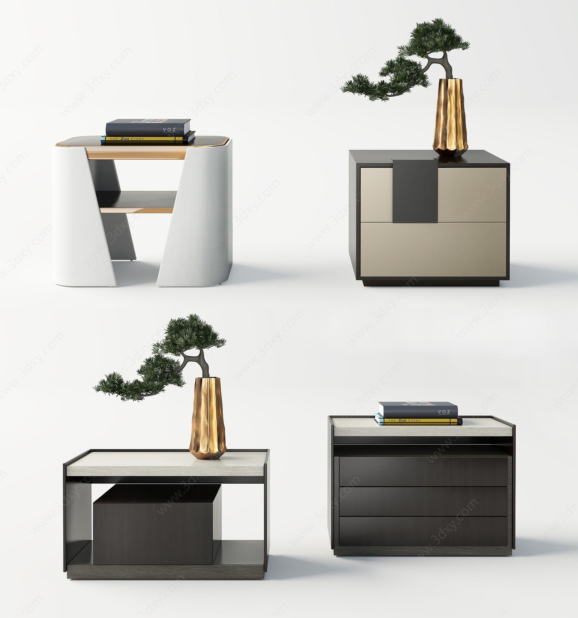 現代床頭柜3D模型