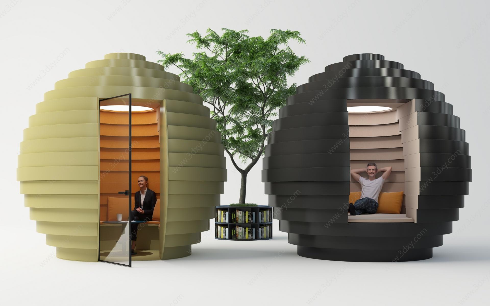 現代創意接待室3D模型
