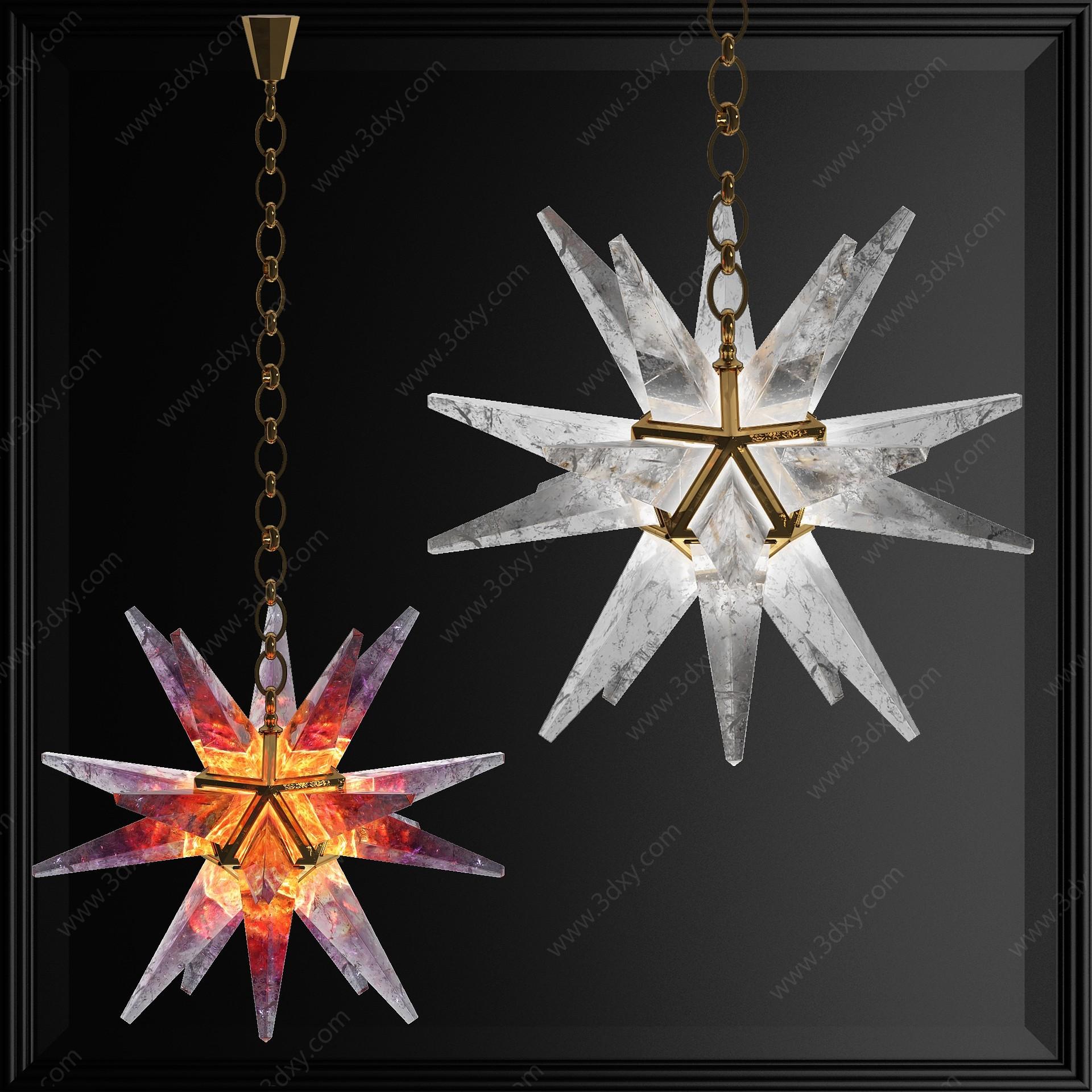 現代海星星星藝術吊燈3D模型