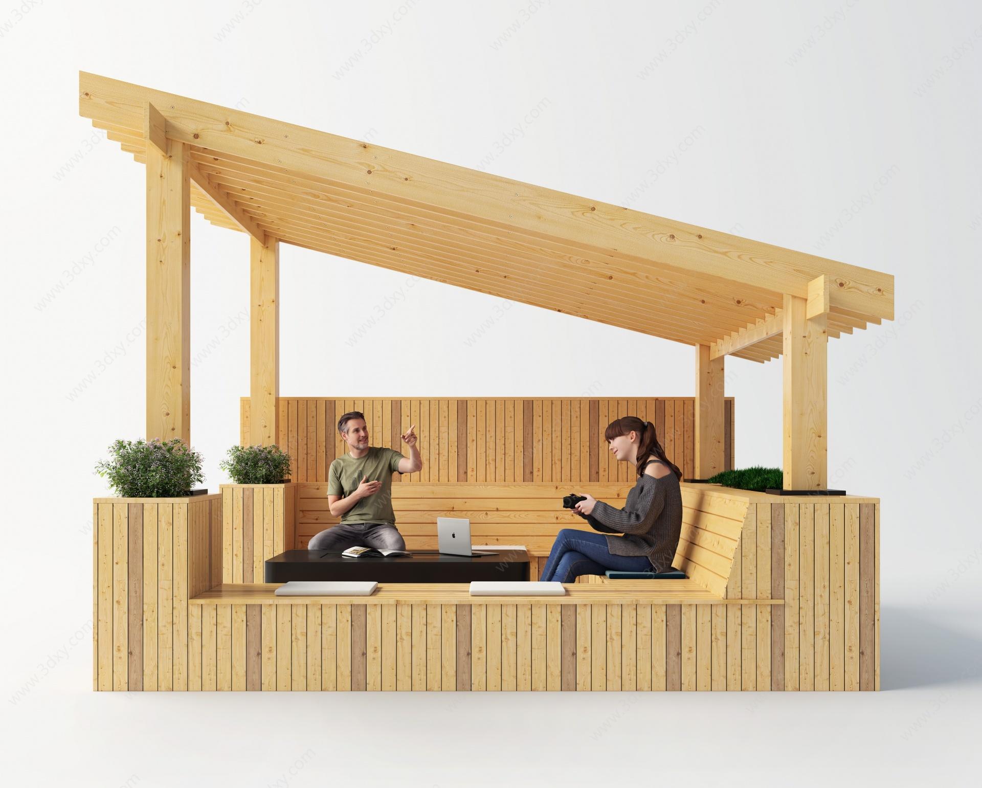 現代室內外亭子3D模型