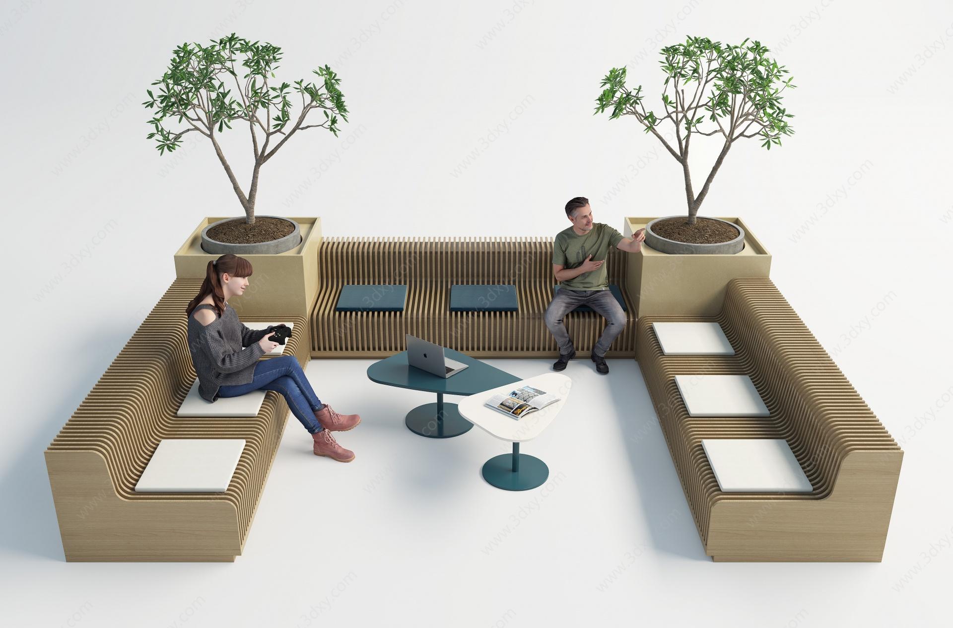 現代室內外休閑長椅3D模型
