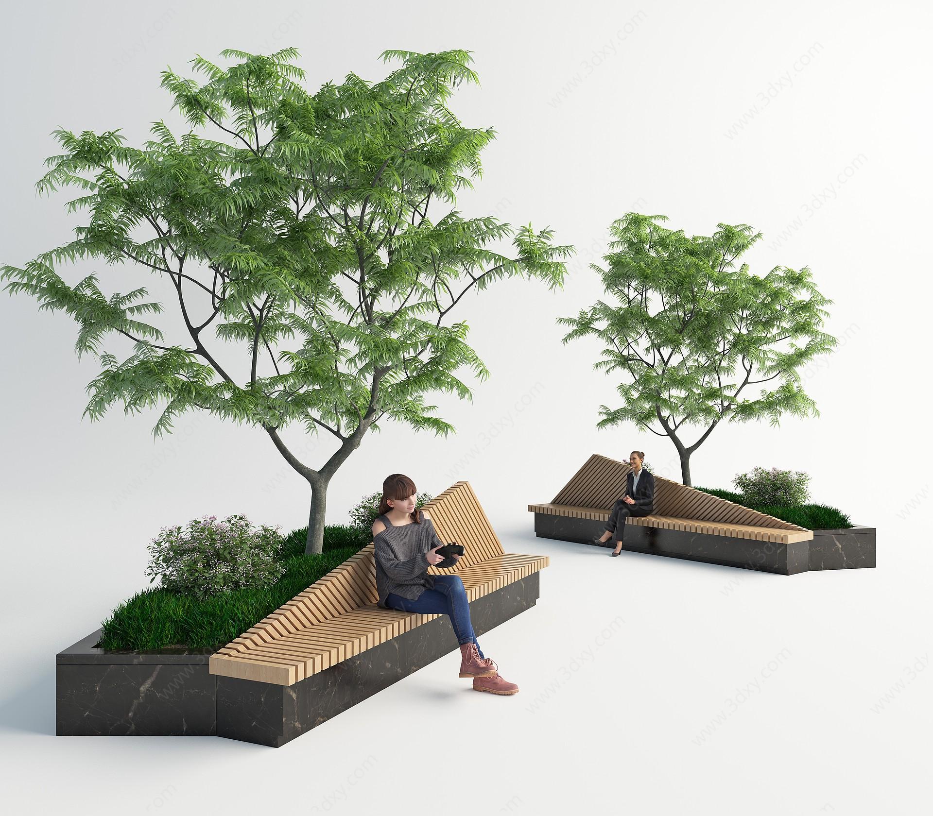 現代室外長椅3D模型