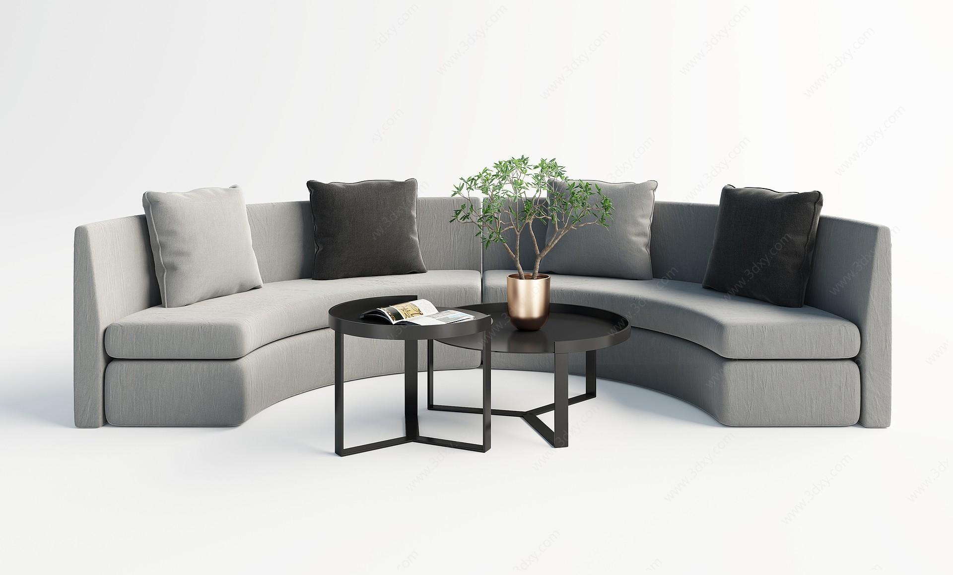 現代圓弧多人沙發3D模型