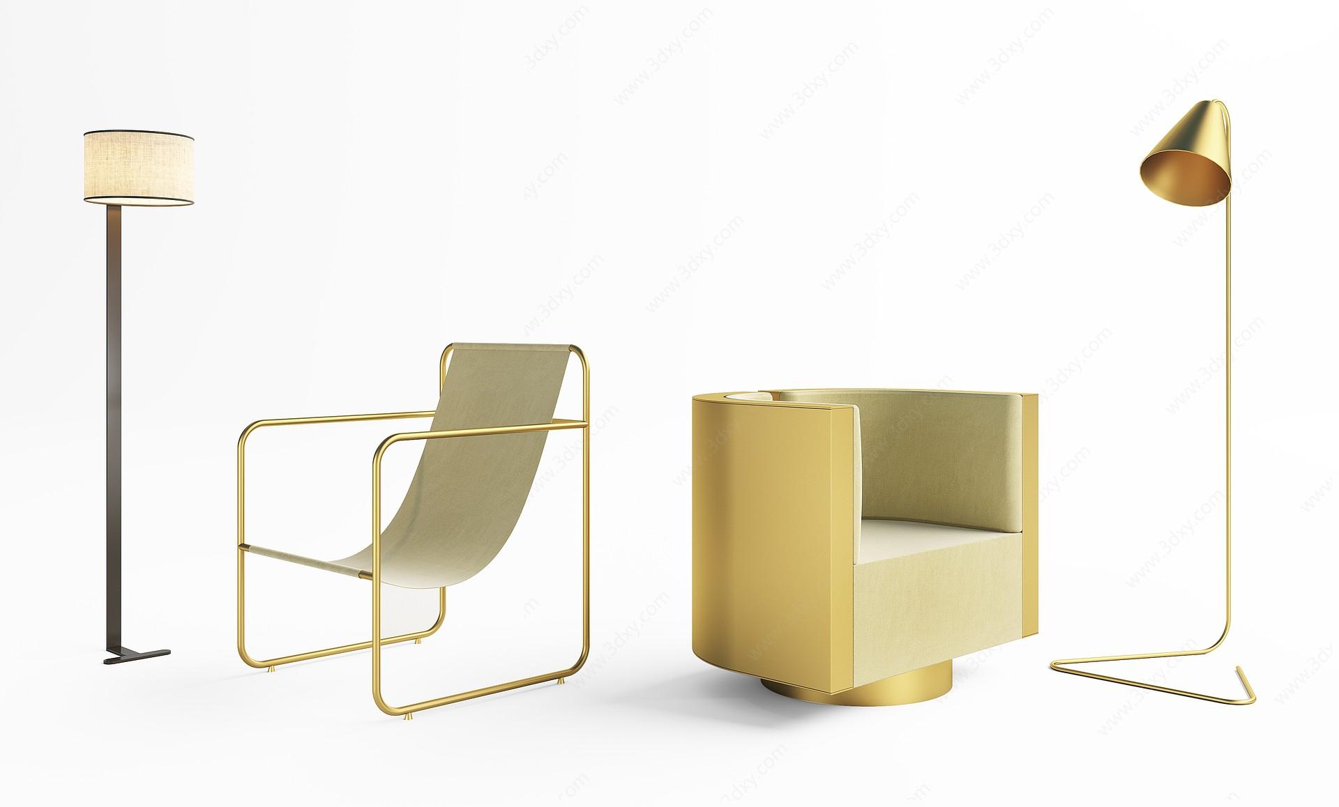 單椅落地燈組合3D模型
