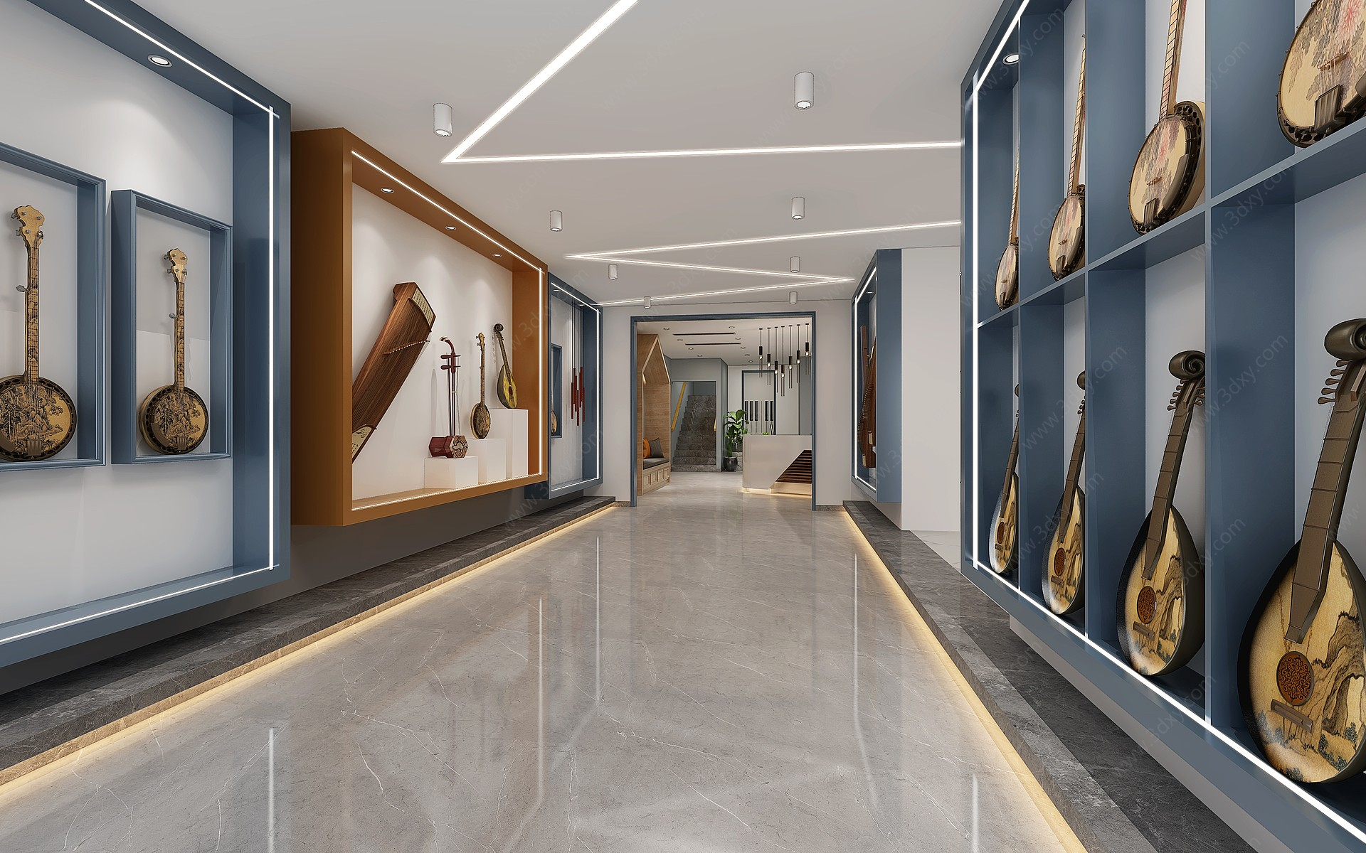 現代樂器專賣店3D模型