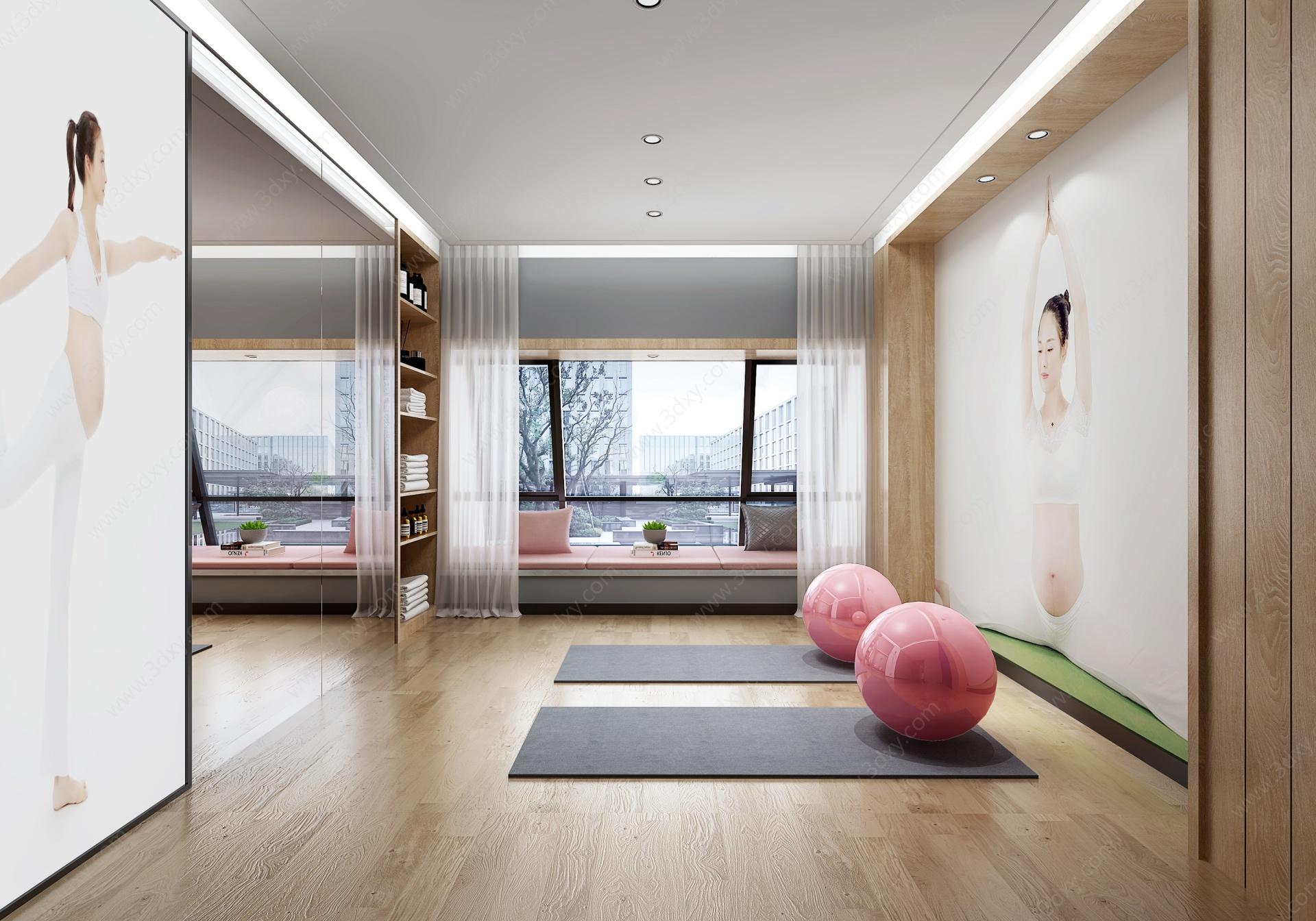 現代瑜伽室3D模型