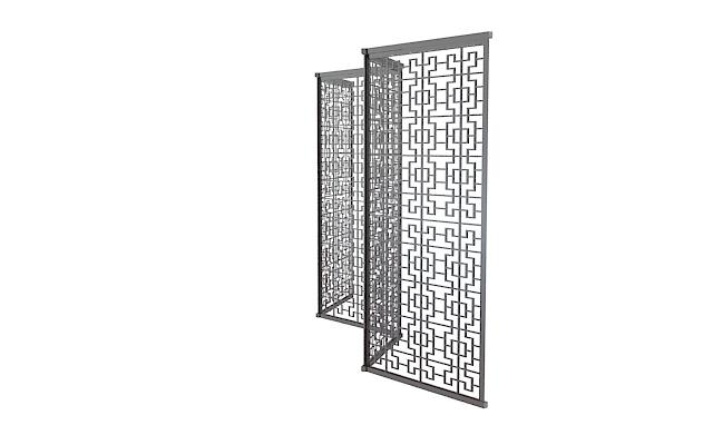 3d镂空方格隔断模型_镂空方格隔断3d模型下载