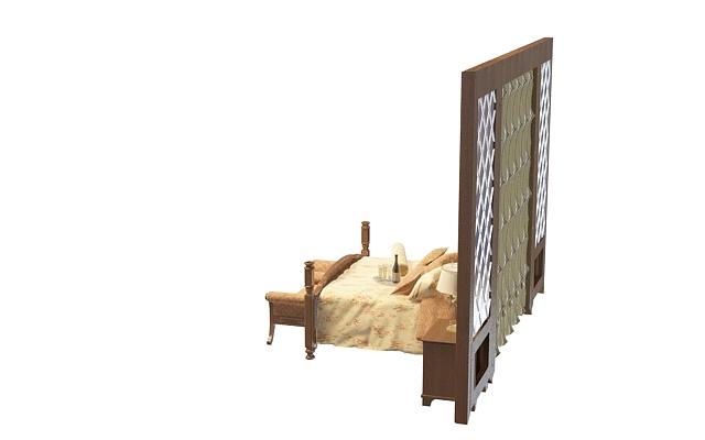 好看的欧式软包床头背景双人床3d模型