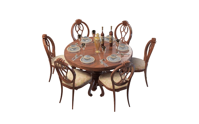 3d欧式实木餐桌椅模型