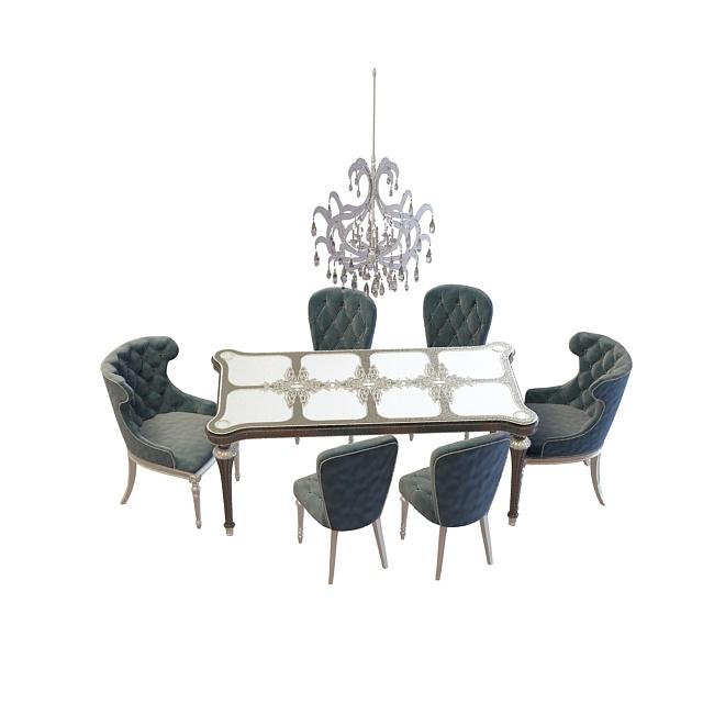 3d欧式餐桌椅组合模型