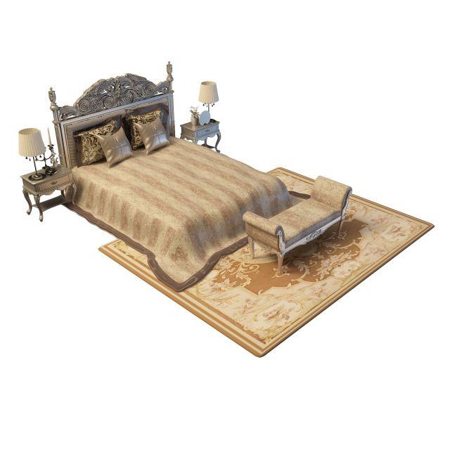 3d精美欧式风格双人床模型图片