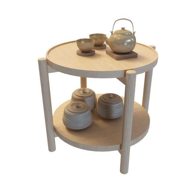 3d木质茶几模型_木质茶几3d模型下载