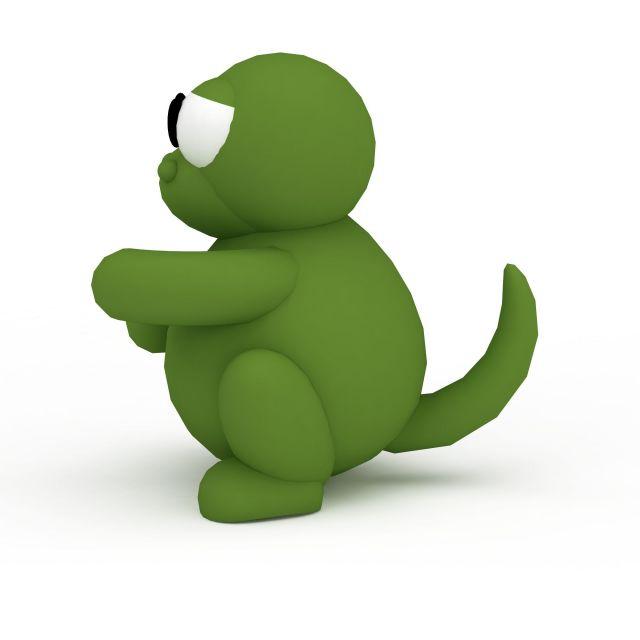 3d绿色卡通恐龙模型_绿色卡通恐龙3d模型下载