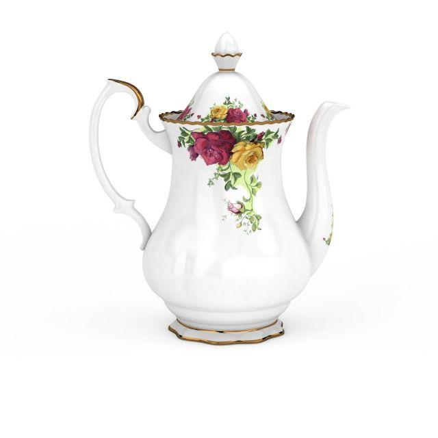 欧式刻花茶壶模型