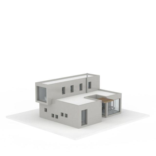 白色二层建筑模型