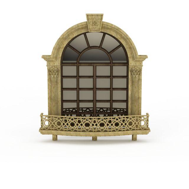 3d欧式户外玻璃窗模型