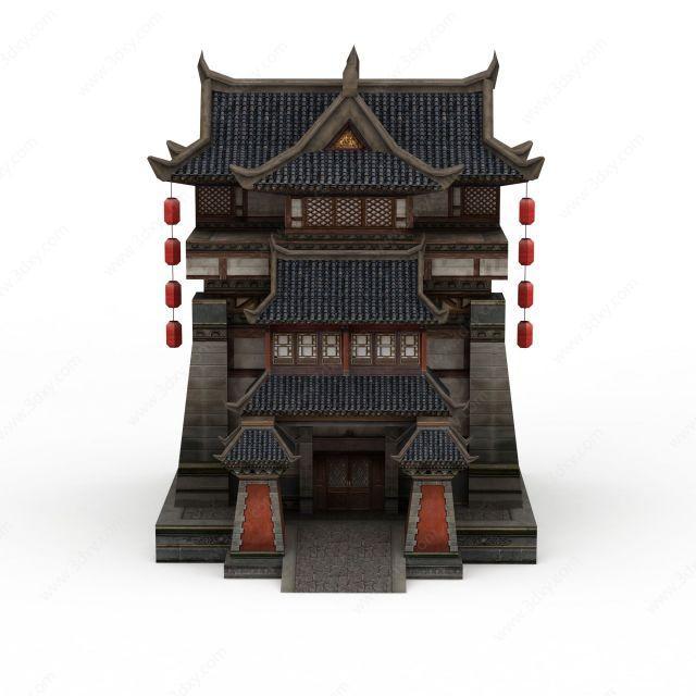 3d古代元素建筑客栈模型图片