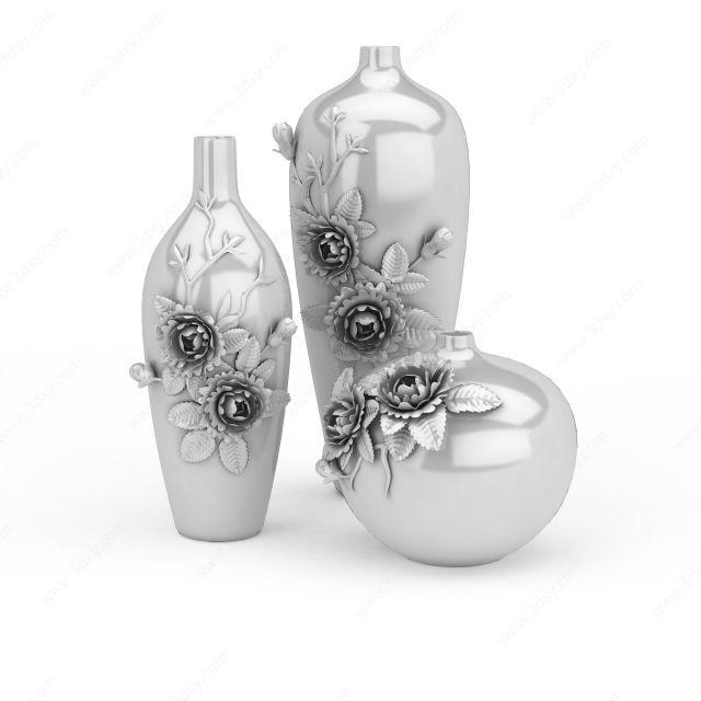 牡丹浮雕瓶装饰品摆件组合