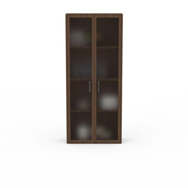 现代实木两开门储物柜书柜