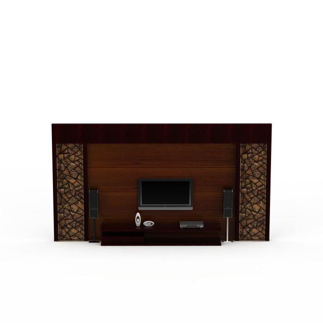中式实木雕花电视柜背景墙