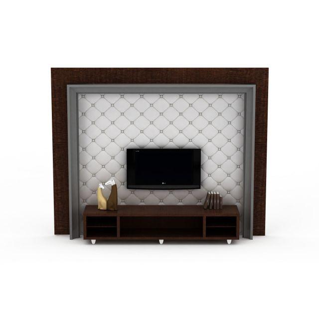 美式软包电视柜背景墙