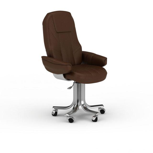 现代棕色皮质办公椅