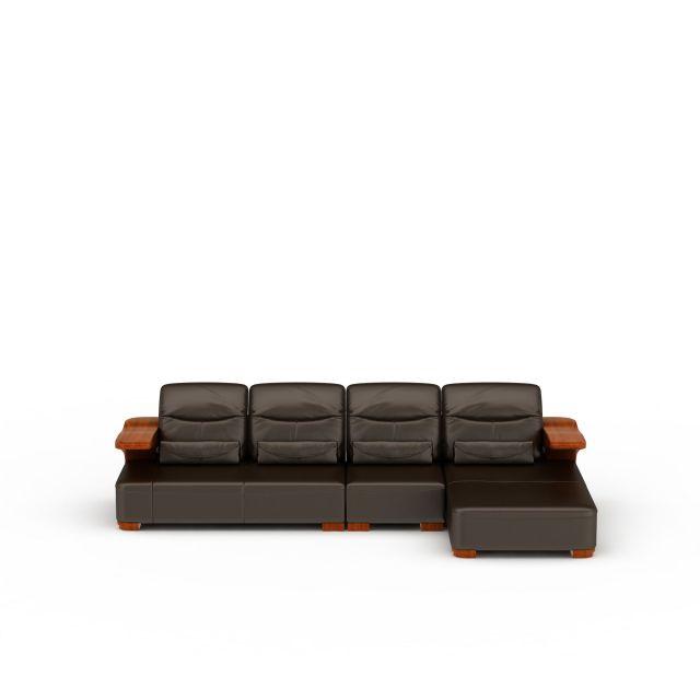 精品棕色皮质组合沙发