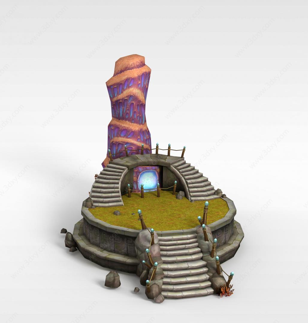 3d古代游戏场景道具模型