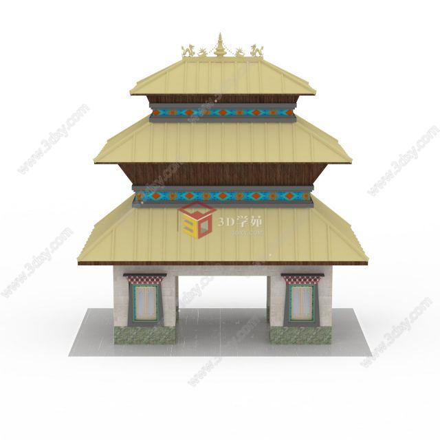藏式塔楼模型图片