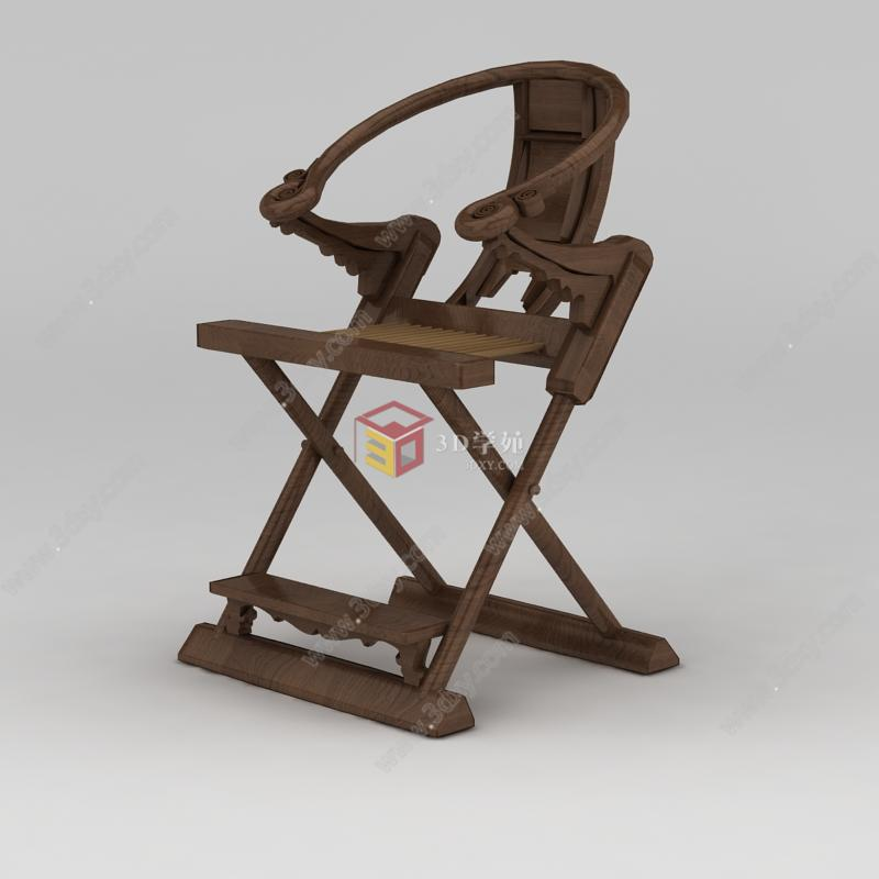 新中式实木折叠座椅模型