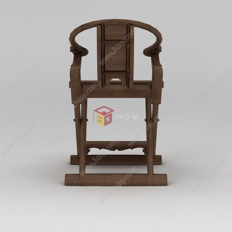 新中式实木折叠座椅模型图片
