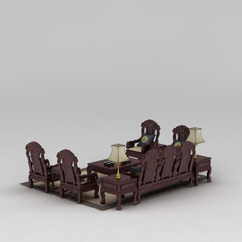 中式红木雕花组合沙发模型