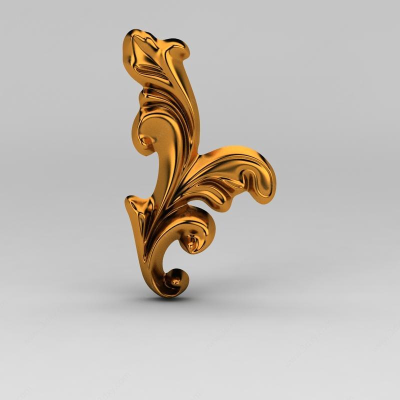 构件五金3d模型 五金件3d模型 欧式金属雕花3d模型