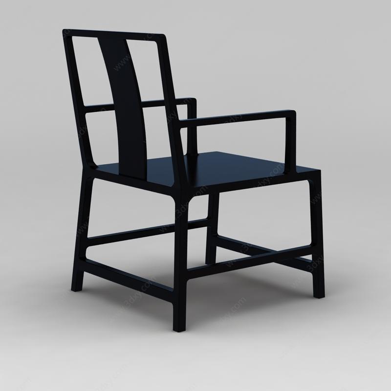 家具组合3d模型 椅3d模型 黑色中式实木座椅3d模型