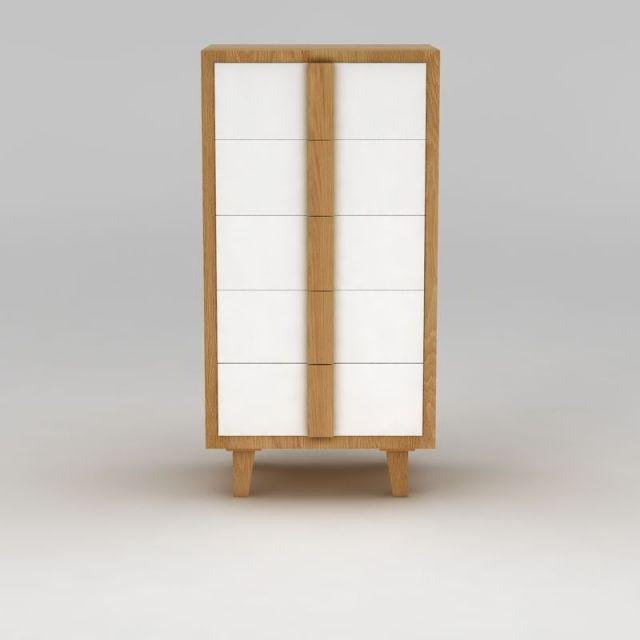 现代实木五斗柜