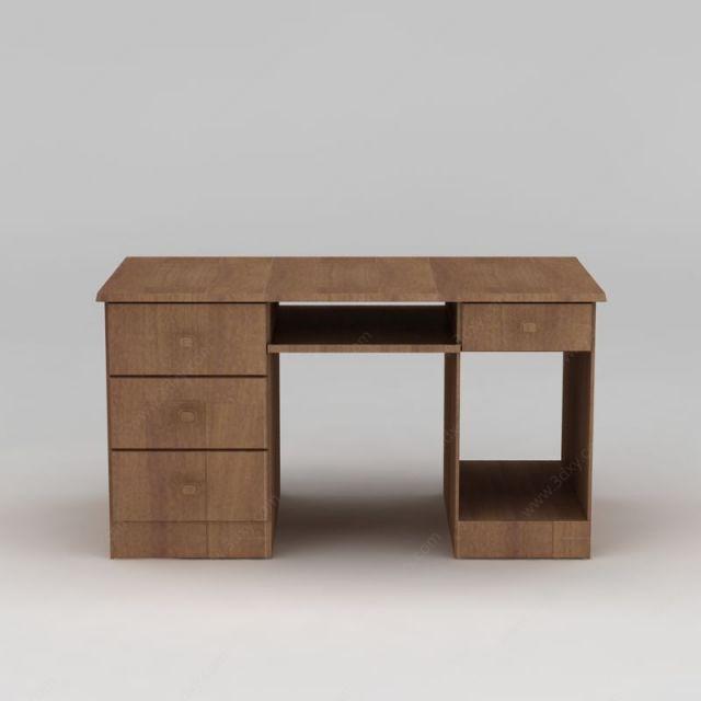 现代家用实木电脑桌模型