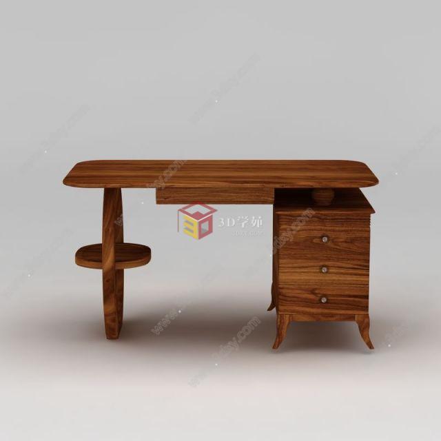 实木电脑桌模型