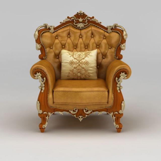 精品欧式雕花软包沙发椅