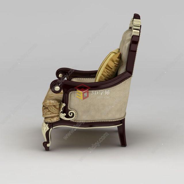欧式印花布艺软包单人沙发椅模型