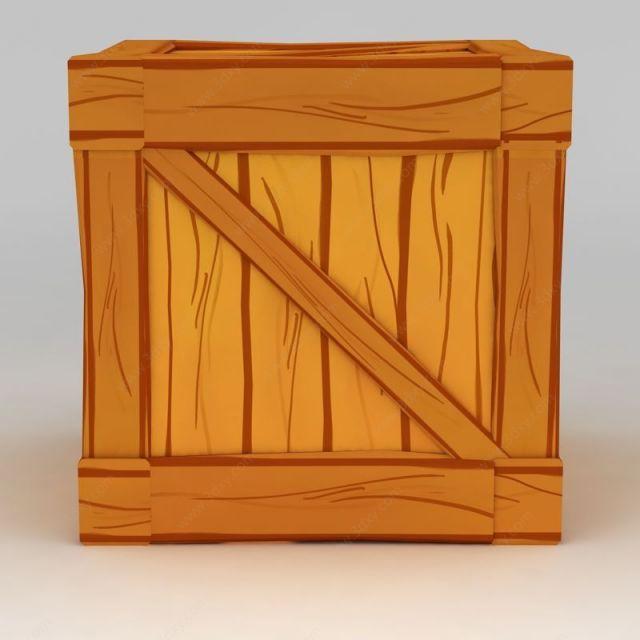 手绘风格木箱模型