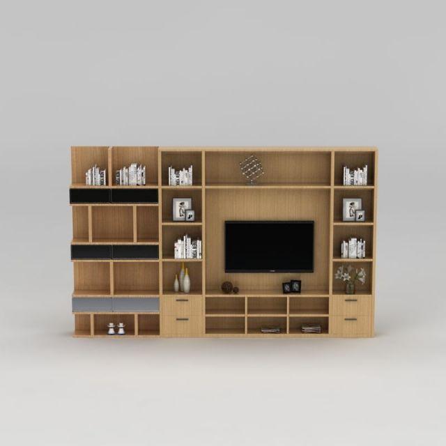 现代实木整体电视柜