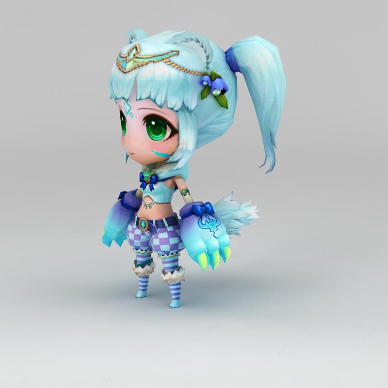 手游人物动漫角色可爱小女孩模型