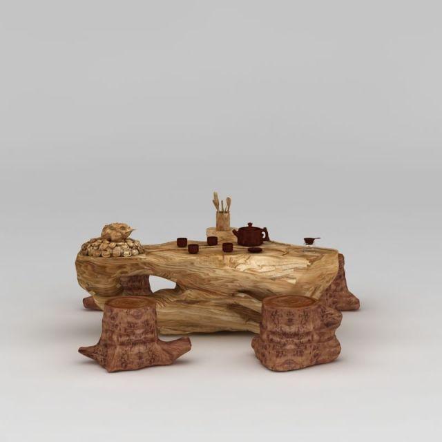 精品实木树雕根雕茶几凳子组合