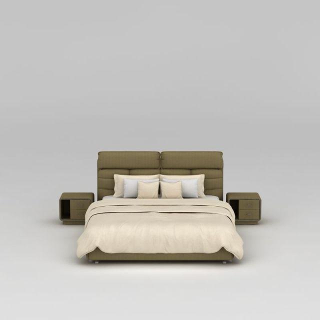 现代软包布艺双人床