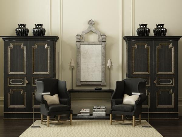 现代黑色实木边柜桌椅组合