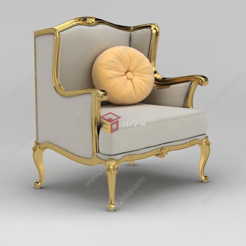 欧式灰色布艺金属雕花沙发椅模型