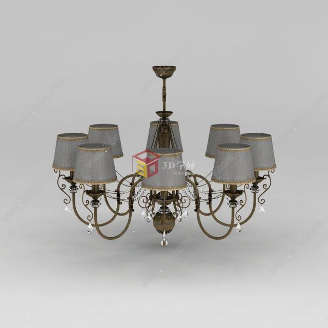 欧式铁艺客厅吊灯模型