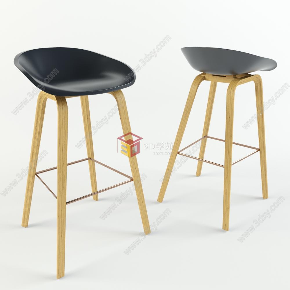 现代实木高脚椅吧椅模型
