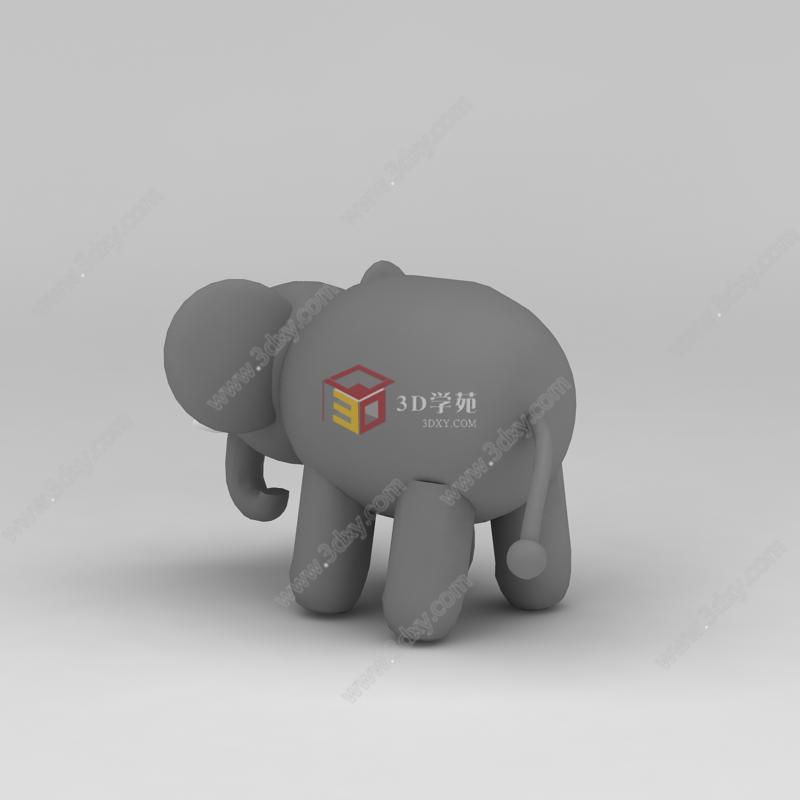 器材设备3d模型 儿童器材3d模型 儿童玩具玩偶灰色小象3d模型