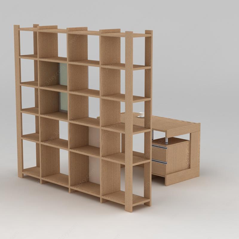 极简主义实木书柜书架模型